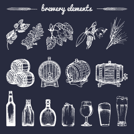 heather: Vector set of vintage brewery hand sketched elements,barrel, bottle,glass,herbs and plants. Retro beer icons collection.