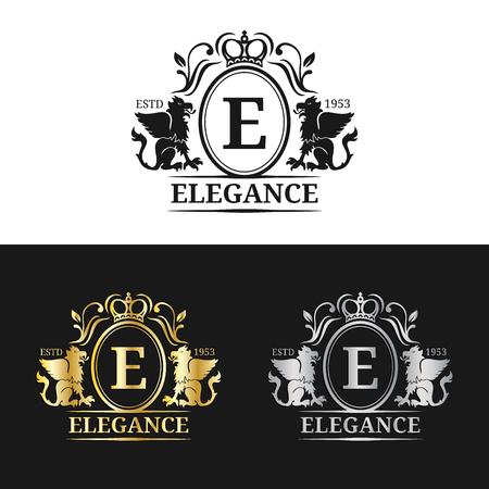 Vector monogram logo template. Luxury letter design. Graceful vintage character with griffin symbols illustration. Illustration