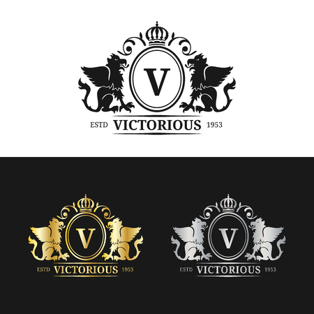 Vector monogram logo template. Luxury letter design. Graceful vintage character with griffins symbols illustration. Used for hotel, restaurant, boutique, jewellery invitation, business card etc.