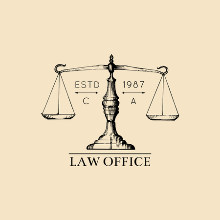 Law office logo with scales of justice illustration. Vector vintage attorney, advocate label, juridical firm badge. Logo