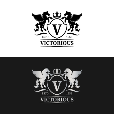 Vector monogram logo template. Luxury letter design. Graceful vintage character with pegasus symbols illustration.