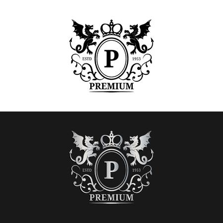 royal wedding: Vector monogram logo template. Luxury letter design. Graceful vintage character with dragons symbols illustration.