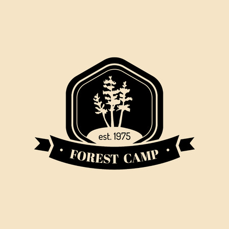 tracking: Vector authentic camp logo. Tourist sign with hand drawn pines illustration. Retro hipster label of outdoor adventures.