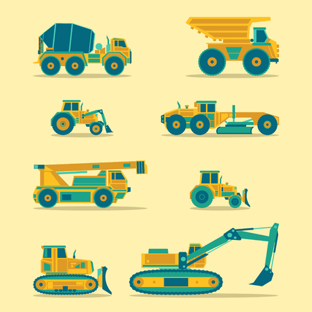 industrial machinery: Vector flat icons set of construction vehicles. Road engineering signs. Industrial machinery symbols.