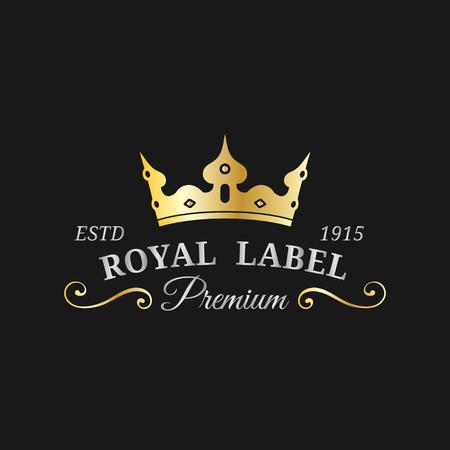 Vector crown logo template. Luxury corona monogram design. Diadem icon illustration. Used for hotel,restaurant card etc. Illustration