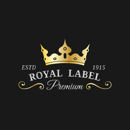 Vector crown logo template. Luxury corona monogram design. Diadem icon illustration. Used for hotel,restaurant card etc. Stock Illustratie