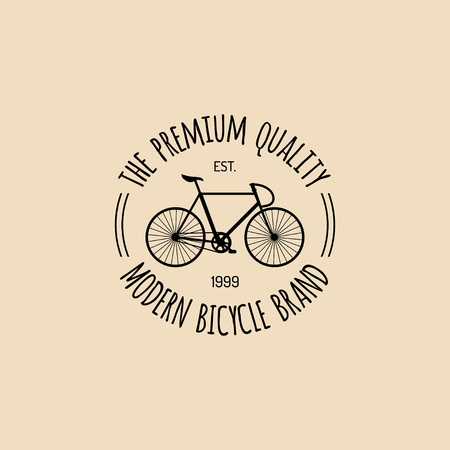 Vector vintage hipster bicycle logo. Modern velocipede emblem for card templates, shop, company advertising poster etc.