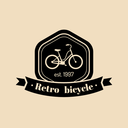 tracking: Vector vintage hipster bicycle logo. Modern velocipede emblem for card templates, shop, company advertising poster etc.