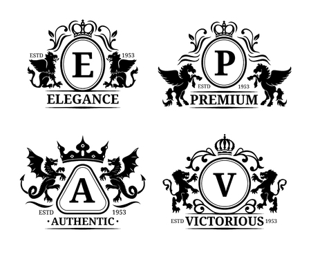 Vector monogram logo templates.Luxury letters design.Graceful vintage characters with animals silhouettes illustrations. Illustration