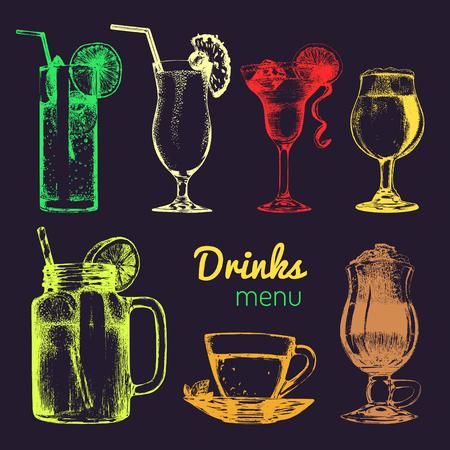 ice tea: Cocktails,soft drinks and glasses for bar,restaurant,cafe menu. Hand drawn different beverages vector illustrations set. Illustration