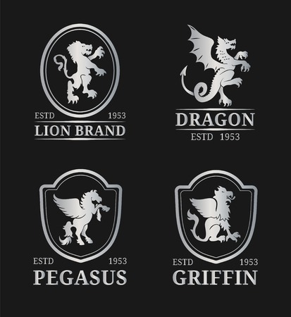 Vector crest monogram templates. Luxury pegasus,dragon, lion,griffin design. Graceful animals silhouettes illustrations. Illustration