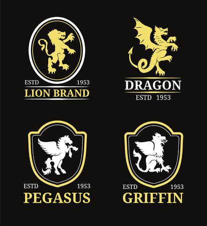 Vector Wappen Monogramm-Vorlagen. Luxus Pegasus, Drache, Löwe, Greif Design. Anmutige Tiere Silhouetten Illustrationen. Standard-Bild - 76520569