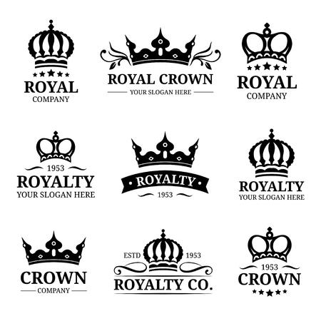 Wektor zestaw logo korony. Projekt luksusowych monogramów koronowych. Ilustracje ikon diademu. Używany do karty hotelowej, restauracyjnej itp. Logo