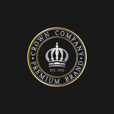 royal wedding: Vector crown logos set. Luxury corona monograms design. Diadem icons illustrations. Used for hotel, restaurant card etc. Illustration