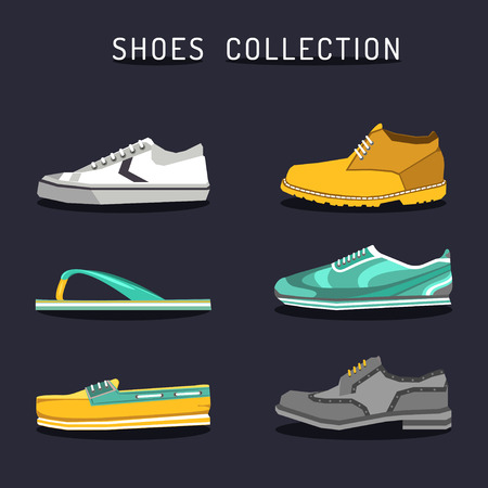 brogues: Vector set of different shoes icons in flat style. Footwear logos collection. Illustrations of boot, ked, sneacker etc.