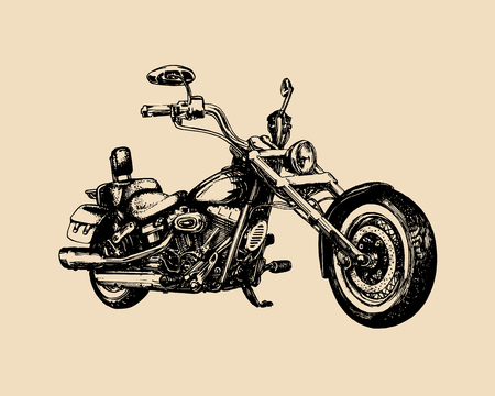Vector hand drawn classic chopper for MC label. Vintage detailed motorcycle illustration for custom biker company etc.