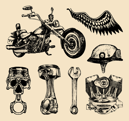 Vector set of vintage bikers elements.Hand sketched motorcyclist symbols collection with custom chopper.