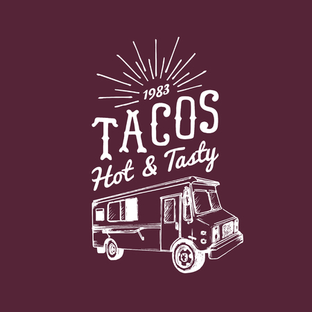 Tacos,Hot and Tasty logo. Vector vintage mexican food truck icon.Retro hand drawn hipster street snack car illustration.