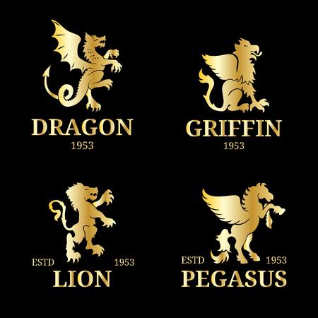 Vektor Monogramm Vorlagen Luxus Pegasus Löwe Etc Design