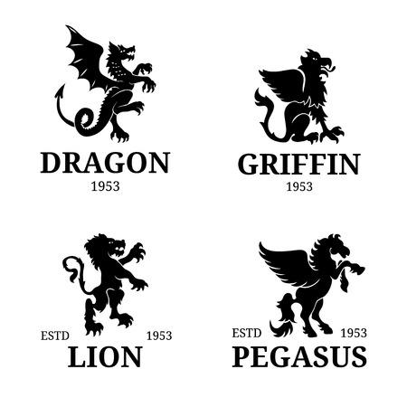 Vector monogram templates. Luxury pegasus, lion etc design. Graceful animals silhouettes illustration.