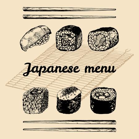 susi: Vector hand drawn asian menu illustration.Hand sketched sushi set.Japanese food,tableware design for restaurant,cafe etc Illustration