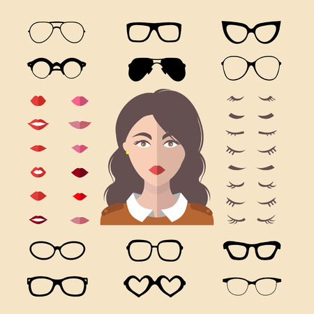 Big vector set of dress up constructor with different woman glasses, lips etc in flat style. Female faces icon creator.