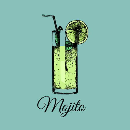 Mojito glass isolated.Vector illustration of alcoholic drink.Hand drawn sketch of cocktail with slice of lime and straw.