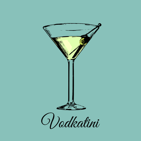 Vodkatini glass sign. Vector alcoholic beverage color illustration.Hand drawn sketch of traditional cocktail with olive.