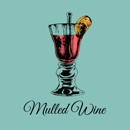 Mulled wine glass isolated. Hand drawn sketch of traditional grog, punch for bar,cafe menu design. Alcoholic drink logo.
