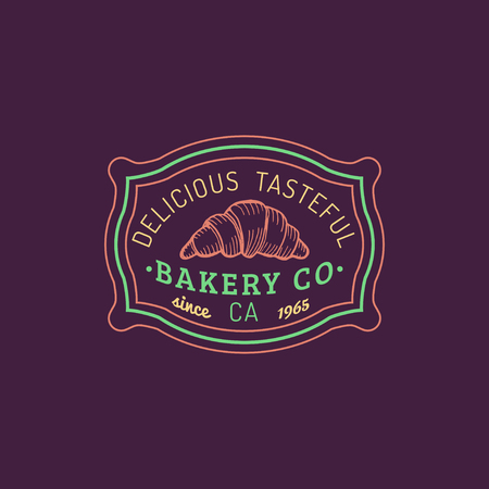 tasteful: Croissant logo. Vector bakery label. Delicious tasteful cookie typographic poster. Hipster pastry icon. Desert emblem.