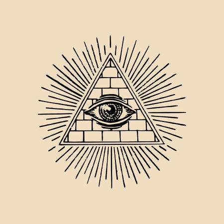 Oeil qui voit tout. Illustration vectorielle de la franc-maçonnerie pyramide. Logo maçonnique de gravure, emblème.