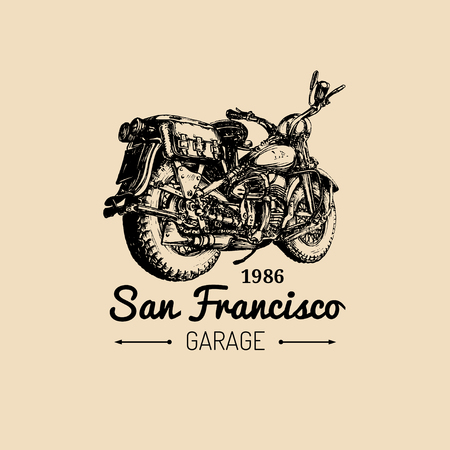 Custom garage logo. Vector hand drawn motorcycle.Vintage detailed retro bike illustration for chopper company,store etc. Illustration