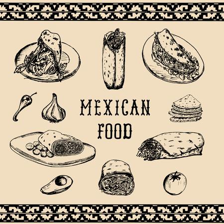 Mexicaans voedselmenu in vector. Burrito's, nacho's, taco's illustraties. Hipster snackbar, fast-food restaurant pictogrammen.
