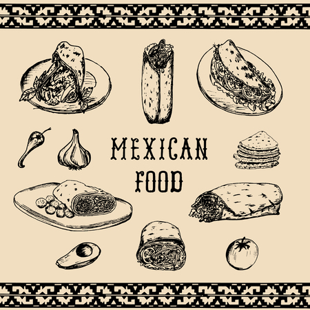 Mexican food menu in vector. Burritos, nachos, tacos illustrations. Hipster snack bar, fast-food restaurant icons.
