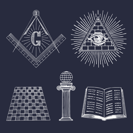 hermetic: Vector masonic symbols set. Sacred society icons, freemasonry emblems, logos. Esoteric illustrations collection.