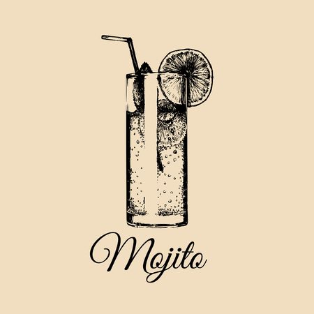 Mojito glass isolated. Hand drawn sketch of traditional cocktail with with slice of lime and straw for cafe menu design.