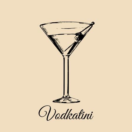 Vetro Vodkatini isolato. Schizzo disegnato a mano di cocktail tradizionale con oliva per ristorante, bar, progettazione di menu bar.
