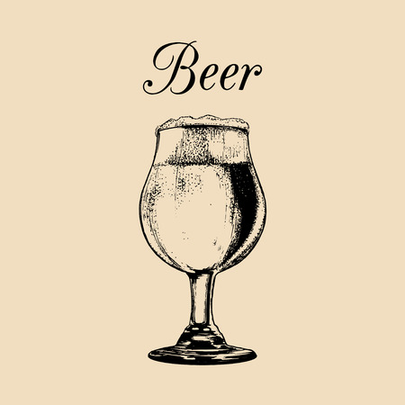 Beer glass isolated. Hand drawn sketch of ale, lager for restaurant, bar, pub, cafe menu design.