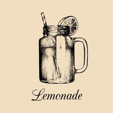 mason: Mason jar isolated.Vector home made lemonade with straw and slice of lemon illustration.Hand drawn sketch of soft drink.