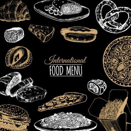 Vector internationaal voedselmenu. Fusion-keuken carte. Vintage hand getrokken snelle maaltijdinzameling. Fast-food pictogrammen.