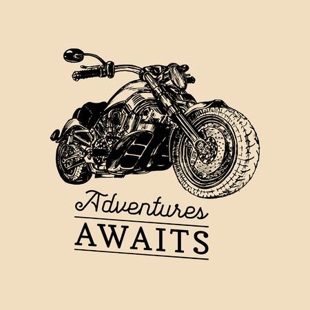 Let the adventures begin inspirational poster.Vector hand drawn motorcycle for MC sign,label. Vintage bike illustration.