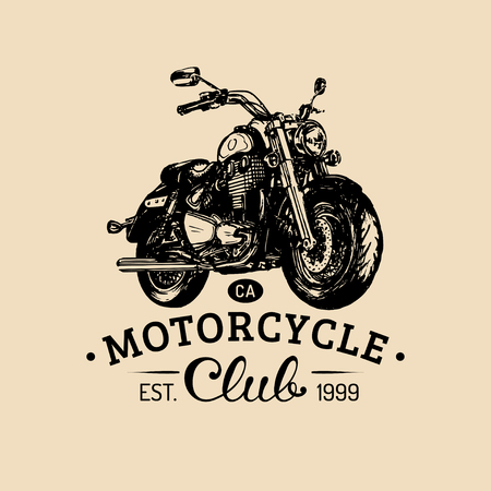 Biker club logo. Vector hand drawn motorcycle for MC sign, label. Vintage bike illustration for custom company etc. Illustration