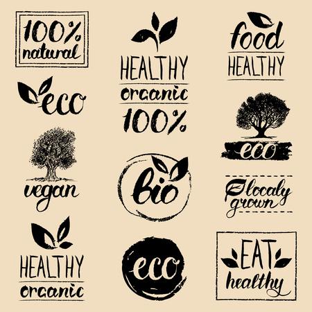 logotypes: Vector eco, organic, bio logos. Handwritten healthy eat logotypes set. Vegan, natural food and drinks signs.