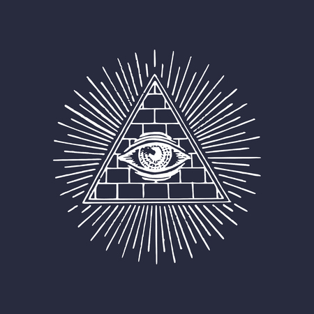 Freemasonry pyramid all-seeing eye. Engraving masonic logo. Vector Eye Of Providence illustration. Symbol Omniscience. Illustration