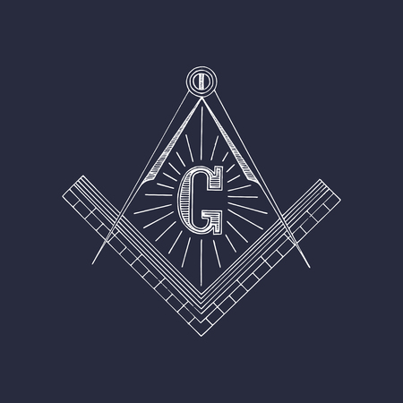 hermetic: Masonic square and compass symbols. Hand drawn freemasonry logo, emblem. Illuminati vector illustration.