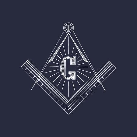 Masonic square and compass symbols. Hand drawn freemasonry logo, emblem. Illuminati vector illustration.