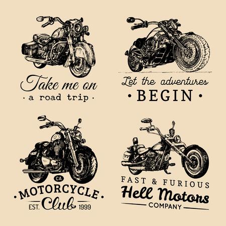 Custom Chopper und Motorrad Logos gesetzt. Vintage inspirierend Plakate, T-Shirt druckt Sammlung für MC, Garage etc.