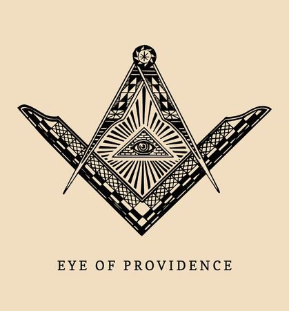 All-seeing eye of providence. Masonic square and compass symbols. Freemasonry pyramid engraving logo, emblem. Illustration