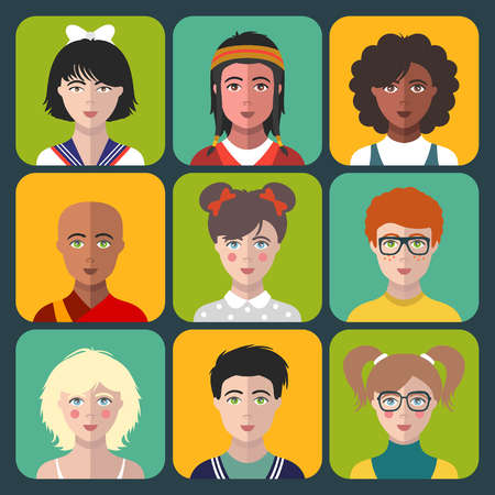 latin american boys: Vector children avatars. Set of different nationality kids faces in flat style. Girls and boys portraits app icons.