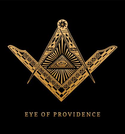Todo el ojo que ve de la providencia. Cuadrado masónico y símbolos de la brújula. Grabado de la pirámide de la masonería, emblema. Ilustración de vector